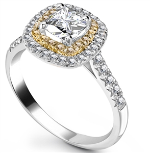 Image for Cushion Diamond & Yellow Diamond Double Halo Shoulder Set Ring