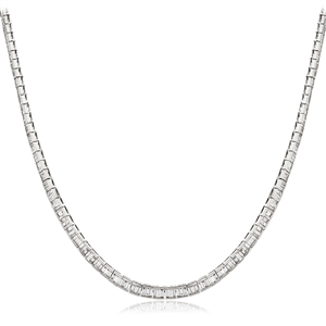 Image for Channel Set Baguette Diamond Tennis Necklace
