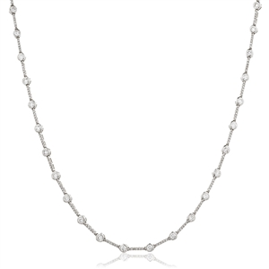 Image for Elegant Round Diamond Cluster Tennis Necklace