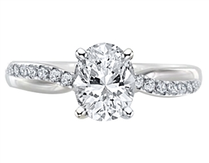 Oval Shoulder Set Diamond Engagement Rings