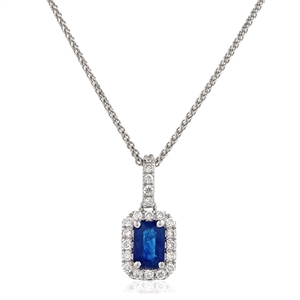 Image for Blue Sapphire & Diamond Halo Pendant