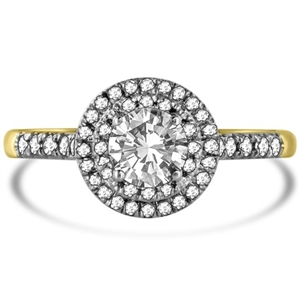 Image for Double Halo Shoulder Set Round Diamond Ring