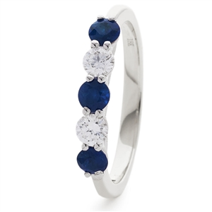 Image for 0.40CT Blue Sapphire and Diamond Eternity Ring