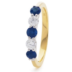 Image for 0.85CT Blue Sapphire and Diamond Eternity Ring