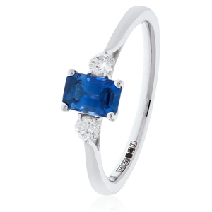 Image for 0.80CT Emerald Blue Sapphire & Diamond Trilogy Ring