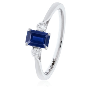 Image for 1.35CT Emerald Blue Sapphire & Diamond Trilogy Ring