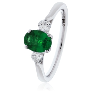 Image for 1.60CT Oval Green Emerald & Diamond Trilogy Ring