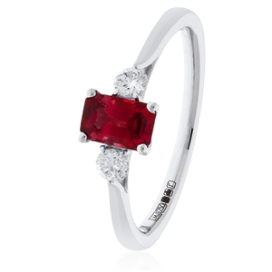 Image for 0.80CT Red Ruby & Diamond Trilogy Ring