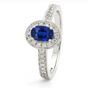 Image for 1.00CT Blue Sapphire & Diamond Halo Ring