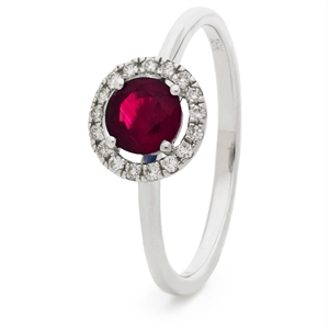 Image for 0.75CT Ruby & Diamond Halo Ring