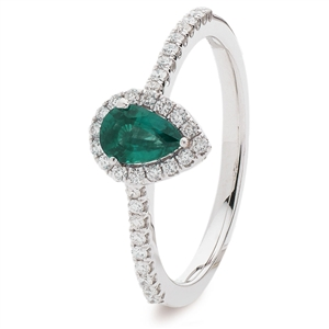 Image for 0.50CT Emerald & Diamond Halo Ring