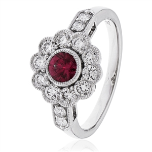 Image for 1.00CT Red Ruby & Diamond Halo Ring