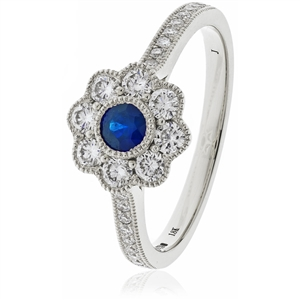 Image for 0.75CT Blue Sapphire & Diamond Halo Ring