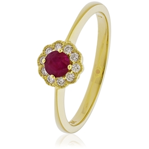 Image for 0.35CT Red Ruby & Diamond Halo Ring