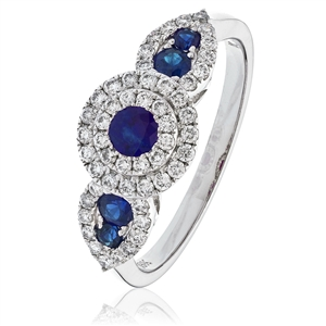 Round Blue Sapphire Engagement Rings