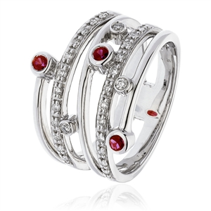 Image for 0.60CT Red Ruby & Diamond Dress Ring