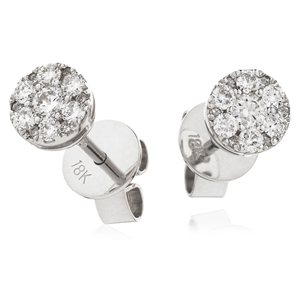 Image for 0.35CT Classic Round Diamond Cluster Earrings