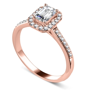18ct Rose Gold Emerald Cut Halo Engagement Rings