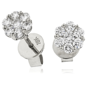Image for 1.00ct Classic Round Diamond Cluster Earrings