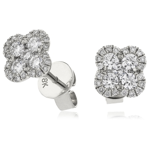 Image for 0.50CT Clover Round Diamond Cluster Earrings