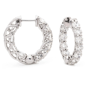 Image for 1.60CT Modern Round Diamond Hoop Earrings