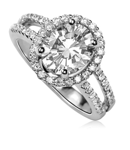 Image for Oval Diamond Single Halo Shoulder Set Diamond Ring