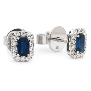 Image for 0.90CT Emerald Blue Sapphire & Diamond Cluster Earrings