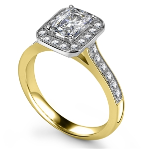 18ct Yellow Gold Radiant Cut Halo Engagement Rings