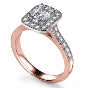 18ct Rose Gold Radiant Cut Halo Engagement Rings