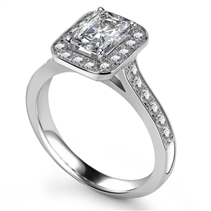 18ct White Gold Radiant Cut Halo Engagement Rings