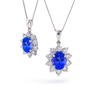 Image for 2.20CT Oval Shaped Blue Tanzanite & Diamond Pendant