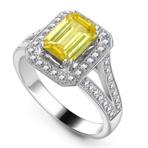 Image for Fancy Yellow Emerald Diamon Shoulder Set Ring