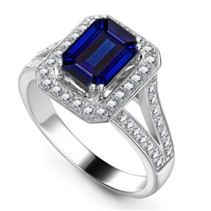 Image for Blue Sapphire & Diamond Halo Shoulder Set Ring