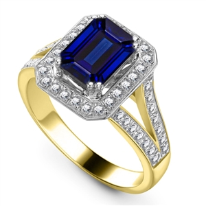 18ct Yellow Gold Emerald Cut Blue Sapphire Engagement Rings