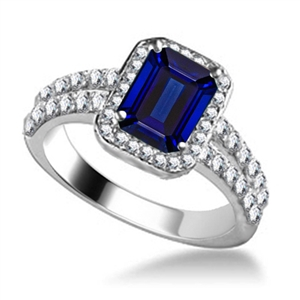 Image for Emerald Blue Sapphire & Diamond Single Halo Shoulder Set Ring