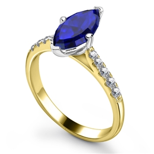 18ct Yellow Gold Marquise Blue Sapphire Engagement Rings