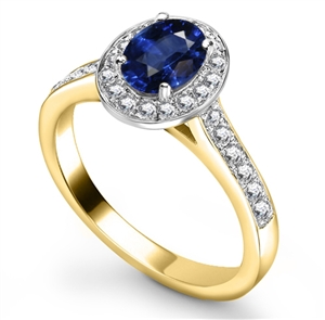 18ct Yellow Gold Oval Cut Blue Sapphire Engagement Rings