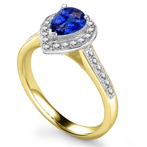 Yellow Gold Pear Shape Blue Sapphire Diamond Rings