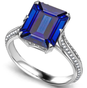Palladium Emerald Cut Blue Sapphire Diamond Rings