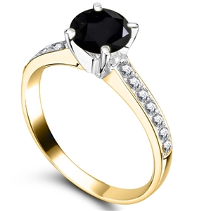 18ct Yellow Gold Black Diamond Engagement Rings