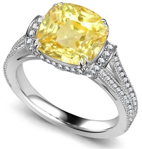 Image for Ribbon Cushion Yellow Diamond Vintage Ring