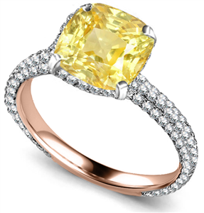 Image for Yellow Cushion Diamond Collar Single Halo Engagement Ring