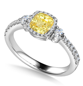 Image for Yellow Cushion Diamond Ring With Halo Shoulder Diamonds