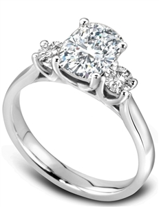 Cushion Trilogy Diamond Engagement Rings