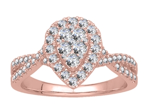 18ct Rose Gold Cluster Diamond Rings