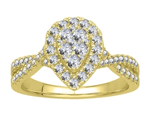 18ct Yellow Gold Cluster Diamond Rings