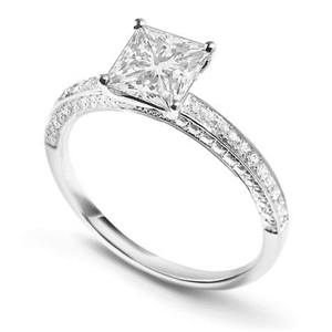 Image for Unique Princess & Round Diamond Engagement Ring