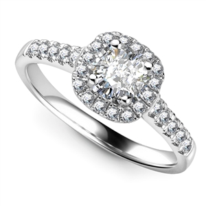18ct White Gold Cushion Cut Diamond Halo Engagement Rings