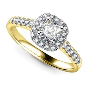 18ct Yellow Gold Cushion Cut Diamond Halo Engagement Rings