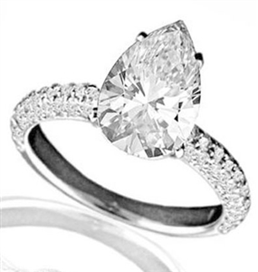 Palladium Pear Shape Vintage Engagement Rings